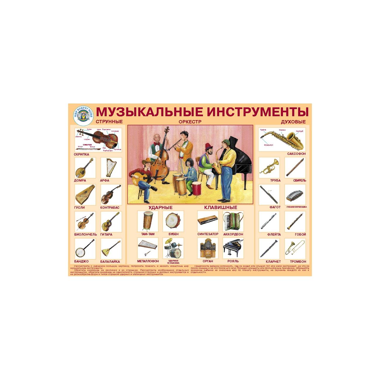 Плакат Маленький гений Музыкальные инструменты<br>