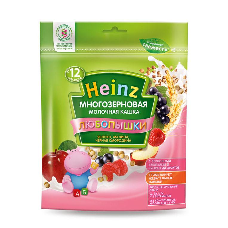 Каша Heinz Любопышка многозерновая молочная 200 гр Яблоко малина черная смородина (с 12 мес)