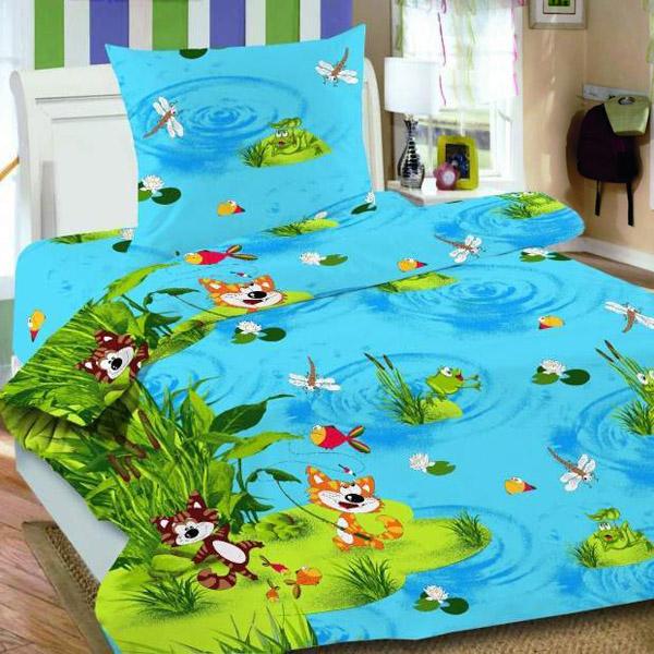 Комплект постельного белья детский Letto Кот-рыболов 1.5 спальный с наволочкой 50х70<br>