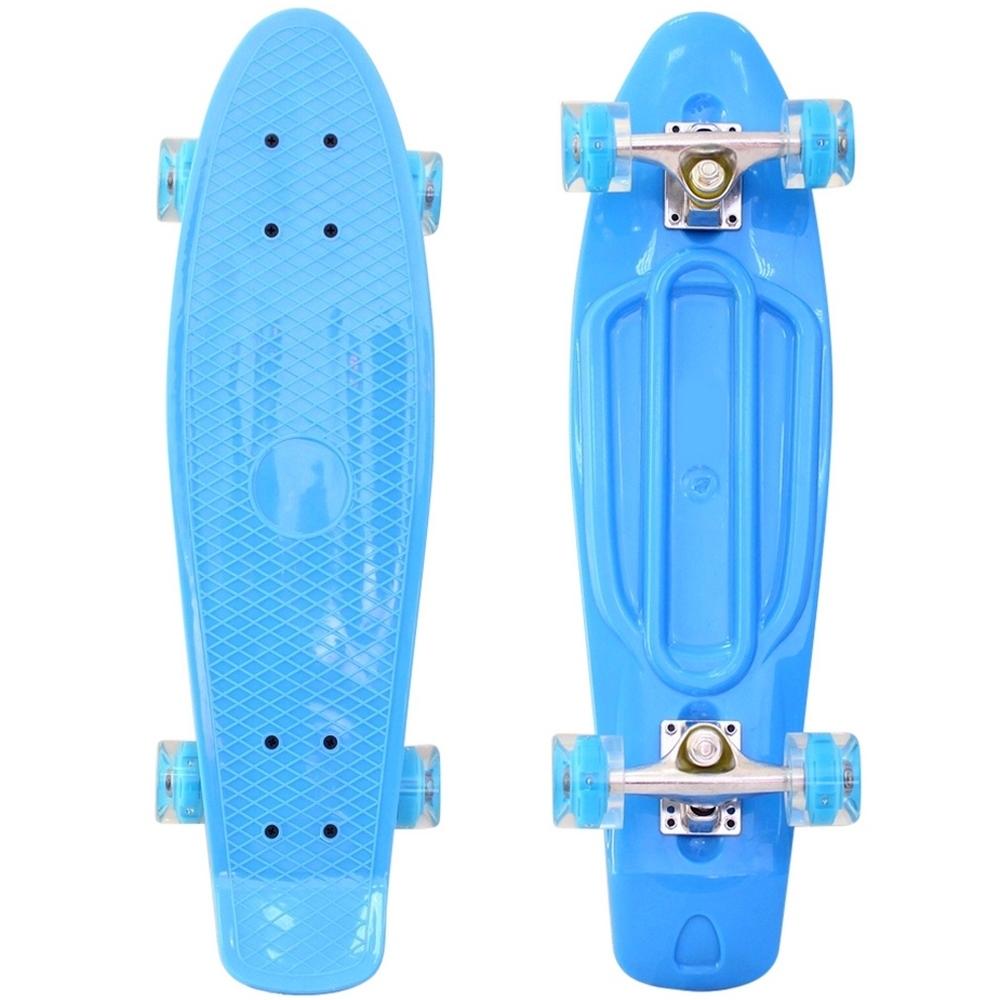 Скейтборд RT Classic 26 68х19 YWHJ-28 пластик со светящимися колесами Голубой<br>