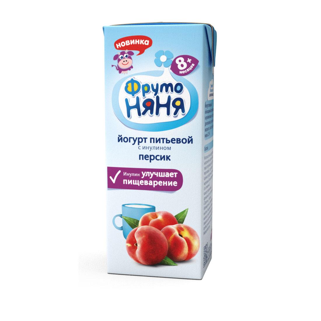 Йогурт ФрутоНяня 200 мл Персик 2,5% (с 8 мес)<br>