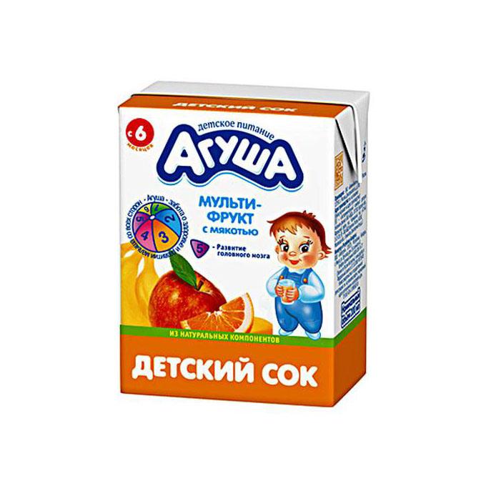 Сок Агуша 200 мл (тетрапак) Мультифруктовый с мякотью (с 6 мес)