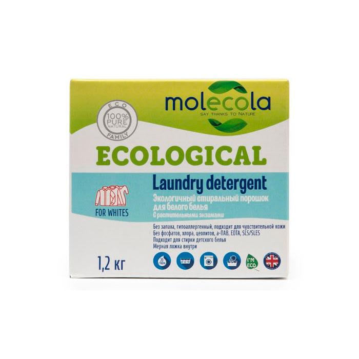 Стиральный порошок Molecola для белого белья с растительными энзимами 1,2кг<br>
