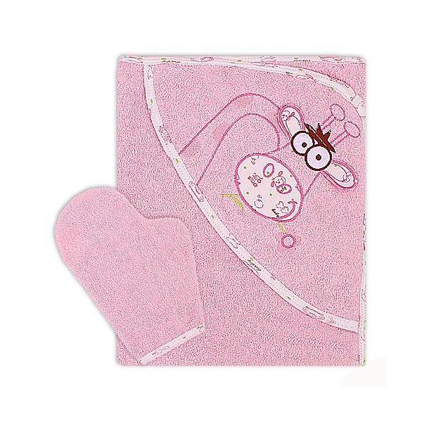 Полотенце-уголок Осьминожка Жираф с вышивкой махровое Розовое<br>