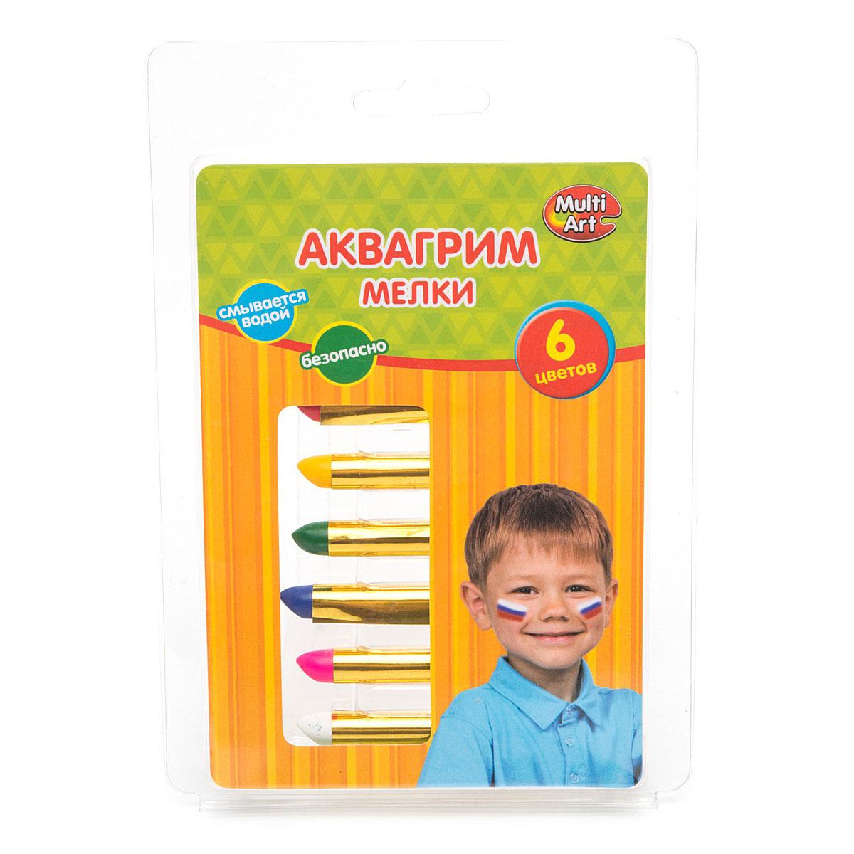 Аквагрим Multiart Мелки 6 цветов в пластиковой упаковке<br>