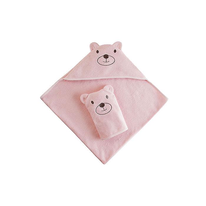 Набор Наша Мама Мишка (полотенце-уголок и рукавичка) розовая махра (Наша мама)