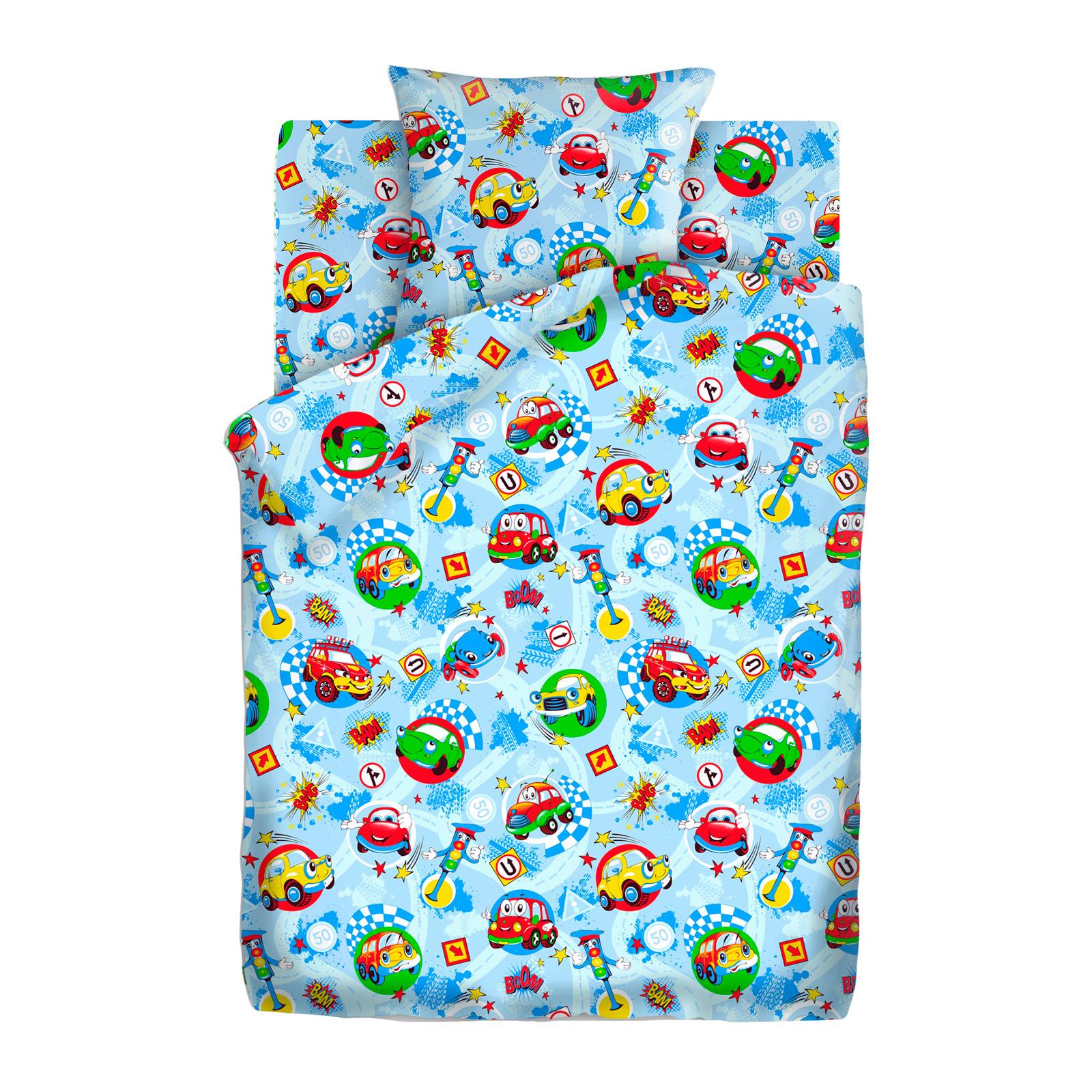 Комплект постельного белья детский бязь Непоседа Кошки-мышки КПКм-10 с наволочкой 70х70 Машинки<br>