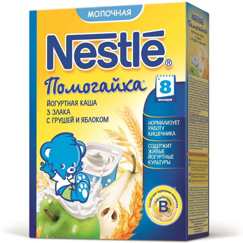 Каша Nestle Помогайка молочная йогуртная 200 гр 3 злака с грушей и яблоком (с 8 мес)<br>