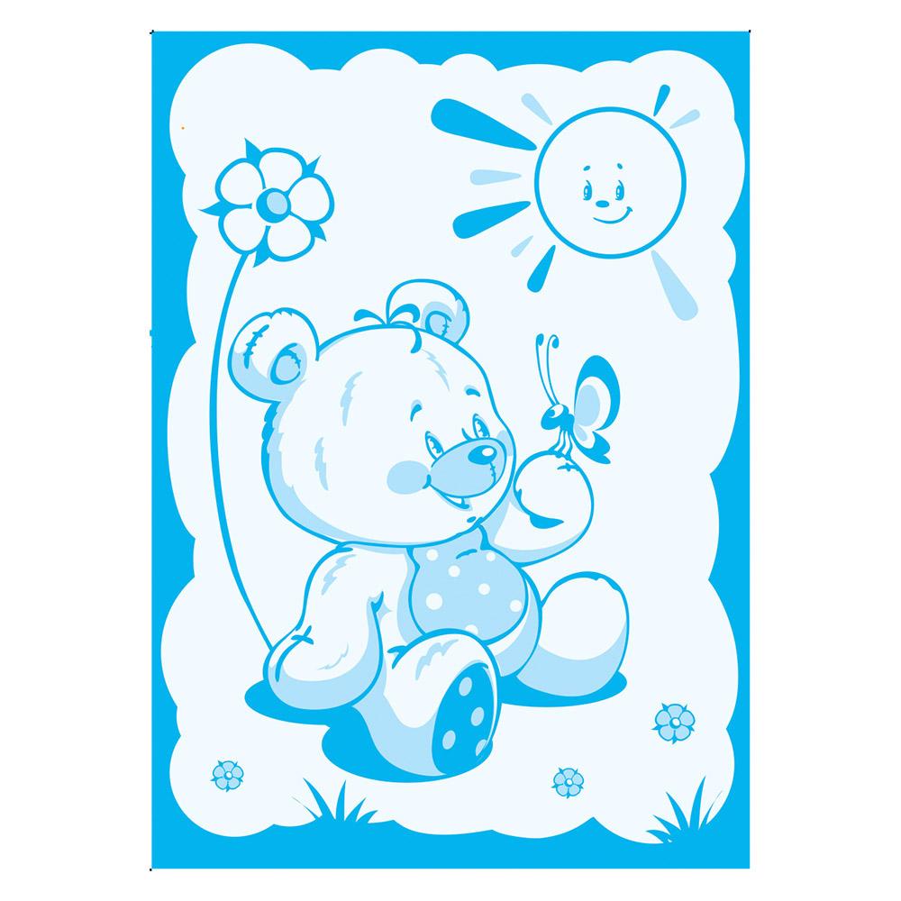 Одеяло Baby Nice шерстяное 100х140 в коробке Мишка на лужайке (голубой)