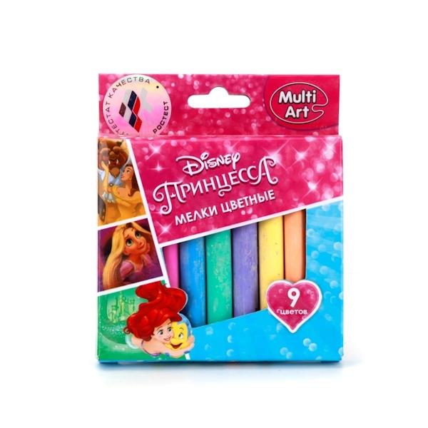 Мел асфальтовый Multiart Принцессы Disney 9 цветов<br>