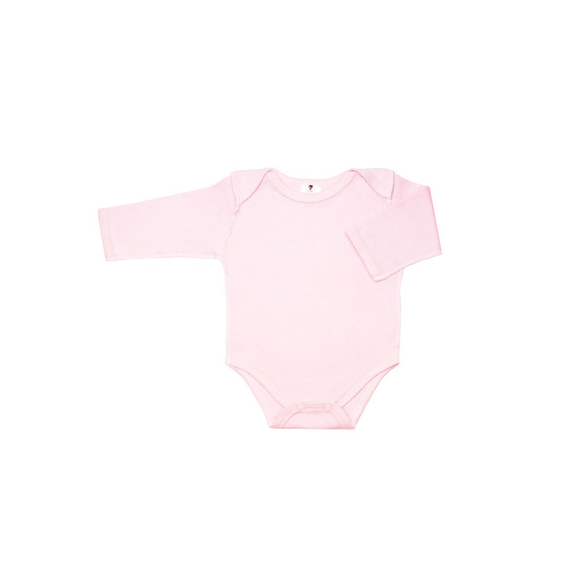 Боди с рукавом КОТМАРКОТ для девочки, цвет однотонный розовый 3-6 мес (размер 68)<br>