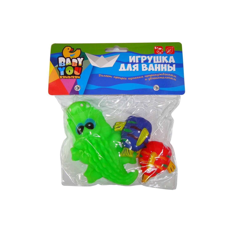 Игрушки для ванной Bondibon Крокодил, Рыбки