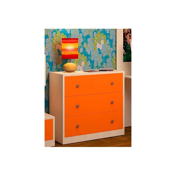Комод РВ-Мебель Дуб молочный/Оранжевый<br>