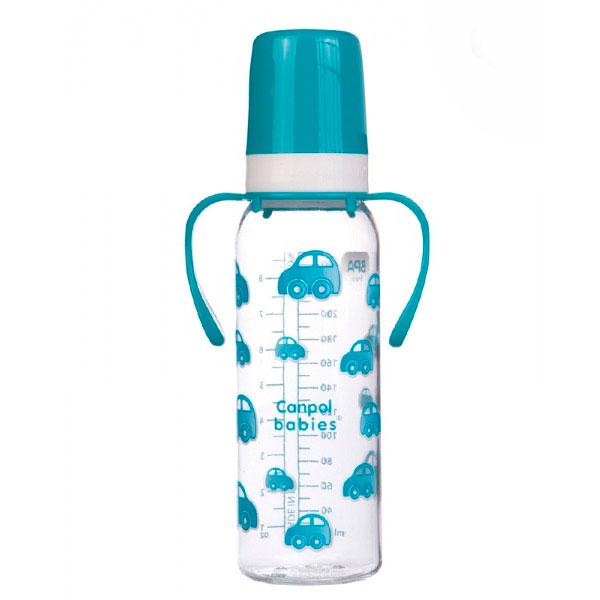 Бутылочка Canpol Babies с силиконовой соской с ручками бирюзовая (с 12 мес)<br>