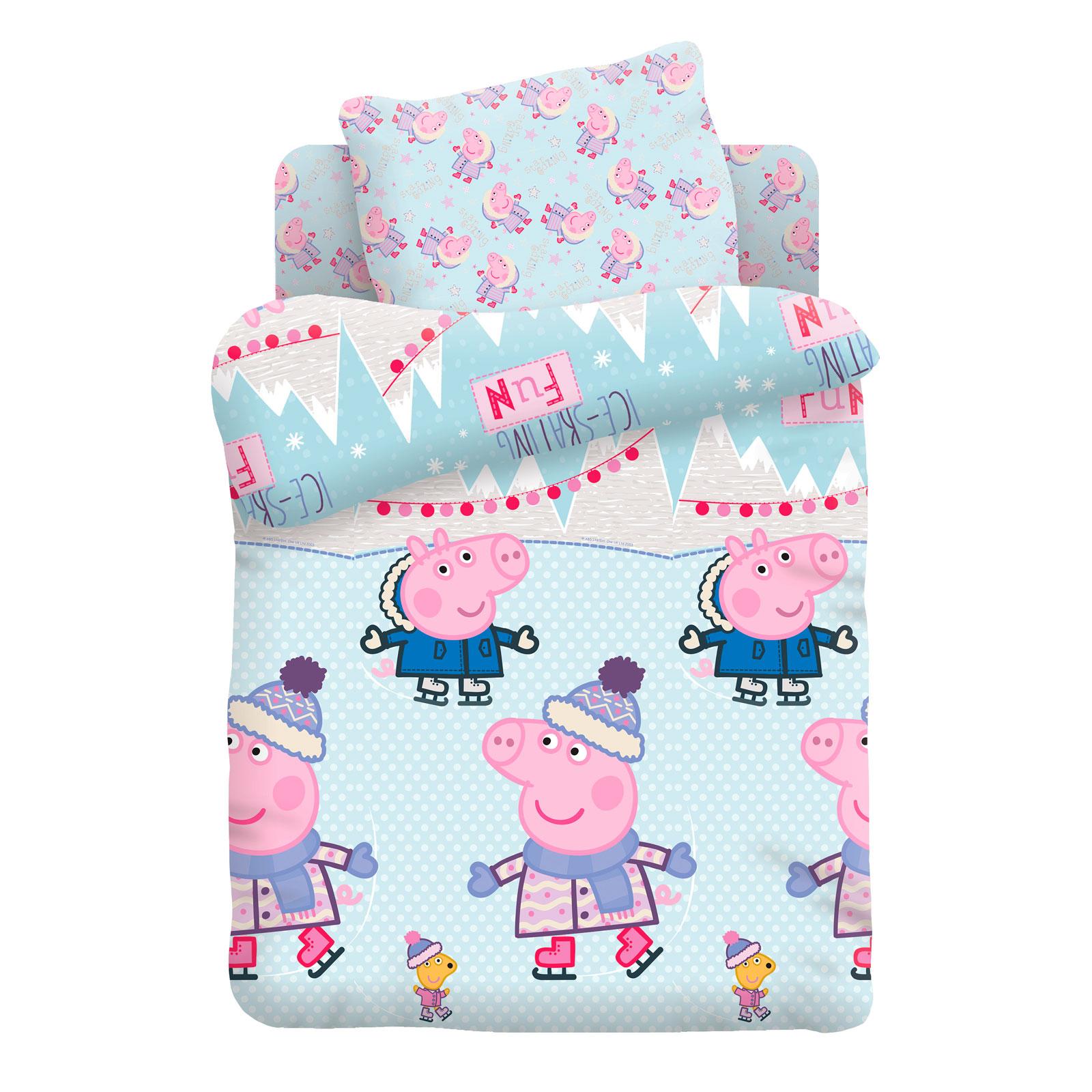 Комплект постельно белья 1,5 хлопок Свинка Пеппа Джордж и Пеппа на коньках<br>