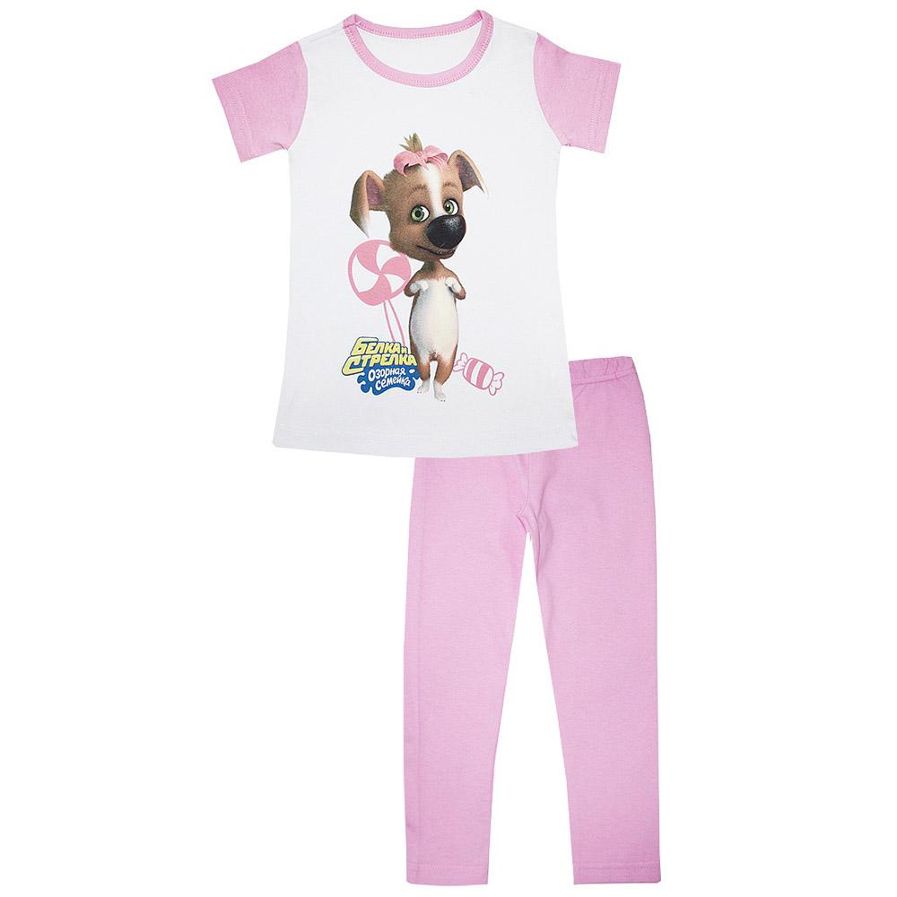 Пижама Котмаркот Озорная семейка-Белка и Стрелка (Дина) с коротким рукавом рост 98 розовый<br>