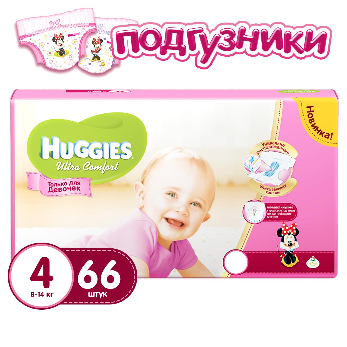 Подгузники Huggies Ultra Comfort Mega Pack для девочек 8-14 кг (66 шт) Размер 4<br>