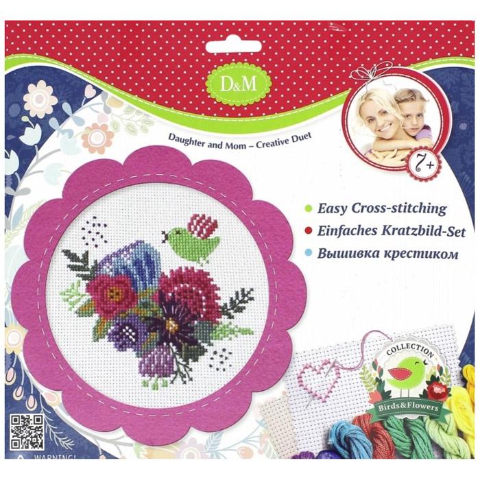 Набор D&amp;amp;M Для вышивания крестиком Цветы и птицы в розовой рамке<br>