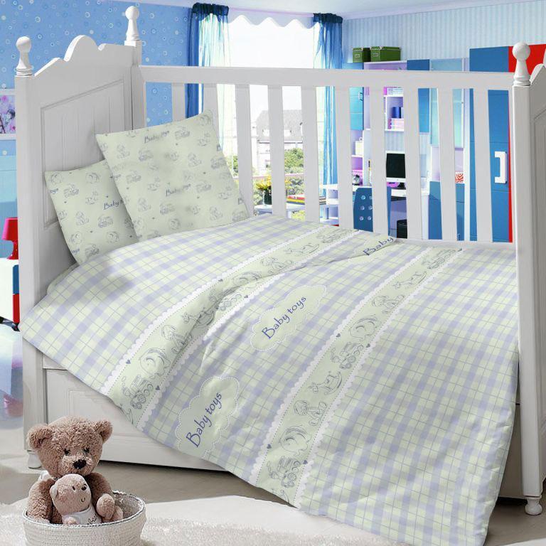Комплект Постельного белья Папитто из сатина с рисунком Baby toys<br>