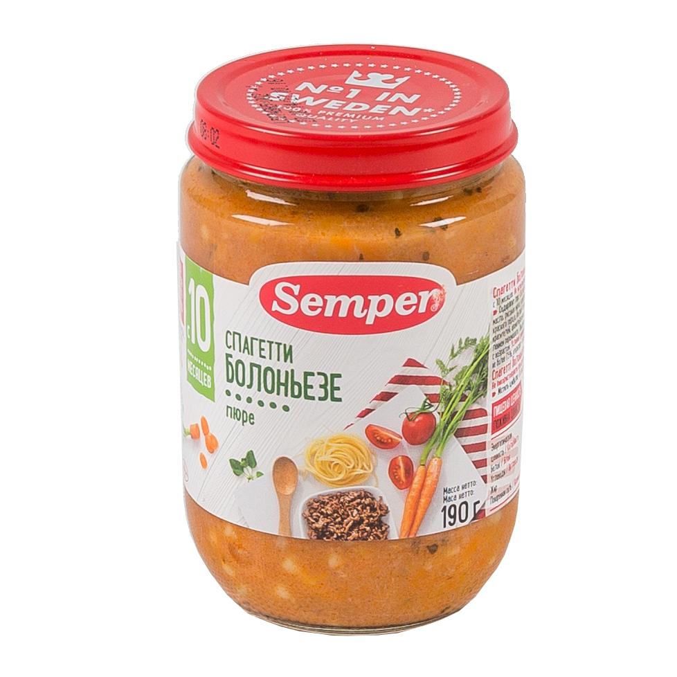 Пюре Semper обед с овощами 190 гр Спагетти болоньезе (с 10 мес)<br>
