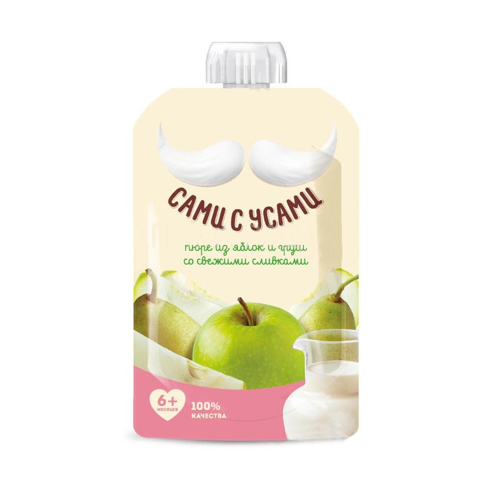 Пюре Сами с усами фруктовое 100 гр Яблоко и груша со сливками (с 6 мес)<br>