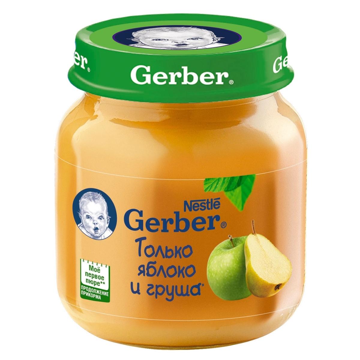 Пюре Gerber фруктовое 130 гр Яблоко с грушей  (1 ступень)<br>
