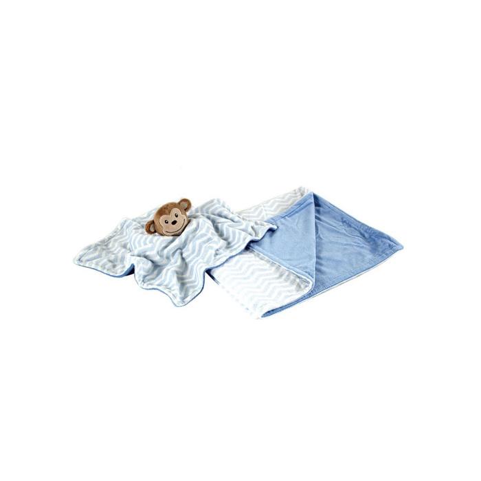 Комплект Hudson Baby плюшевый плед и мягкая игрушка, 2 пр., цвет голубой от 0 мес. (76х101 см)