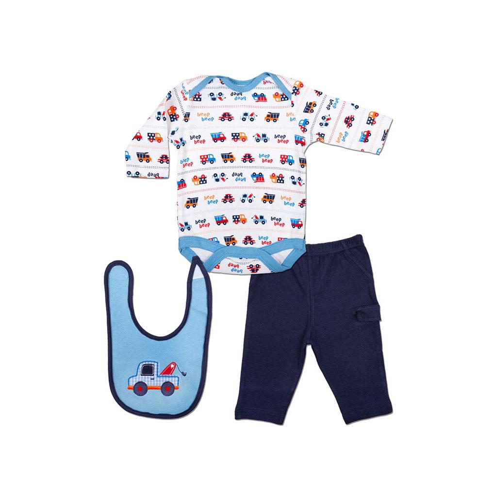 Комплект Bon Bebe Бон Бебе для мальчика: боди длинный рукав, штанишки, нагрудник, цвет голубой-синий 0-3 мес. (45-61 см)