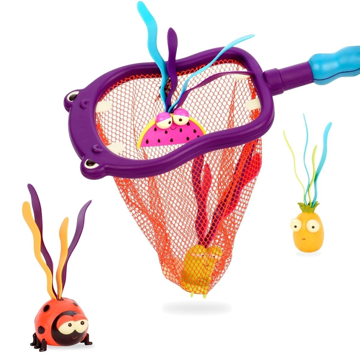 Набор игрушек для ванной B.Summer Бегемот (сачок, 4 игрушки)<br>