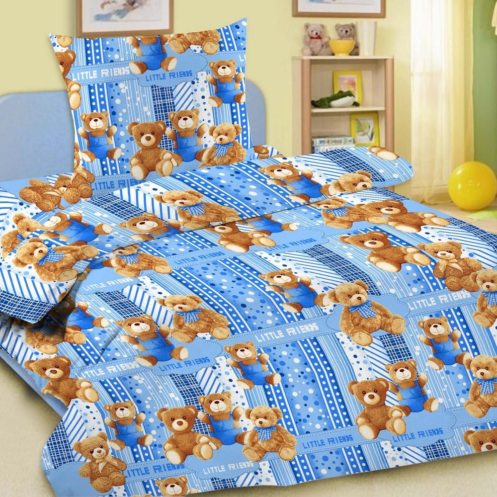 Комплект постельного белья детский Letto Мишки 1.5 спальный с наволочкой 50х70 Голубой<br>