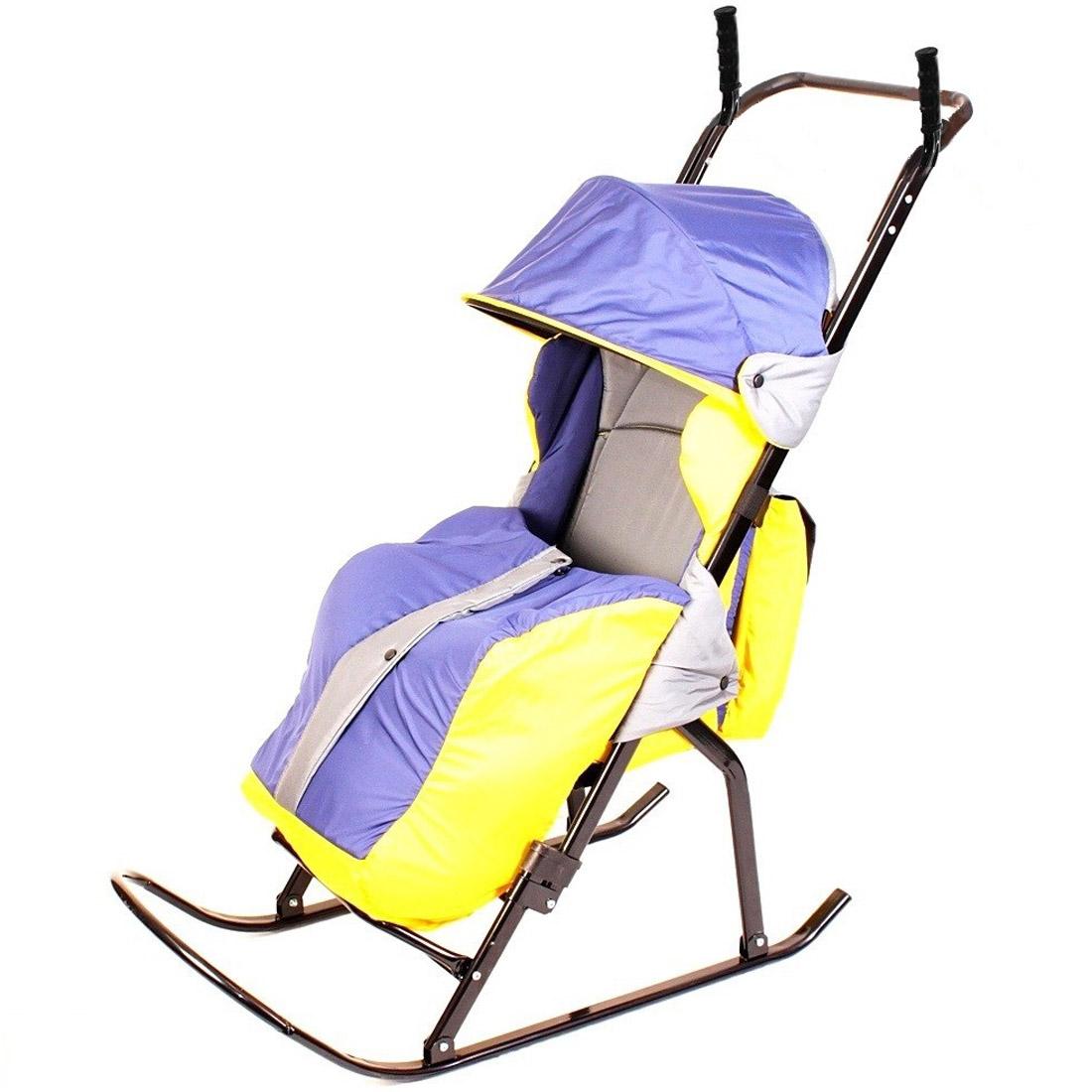 Санки-коляска RT Кенгуру-1 Серые с желтым и синим