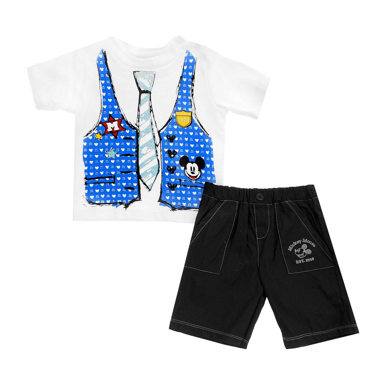 Комплект Дисней Микки футболка с коротким рукавом (рисунок галстук)и шорты, для мальчика. Голубой 12 мес.