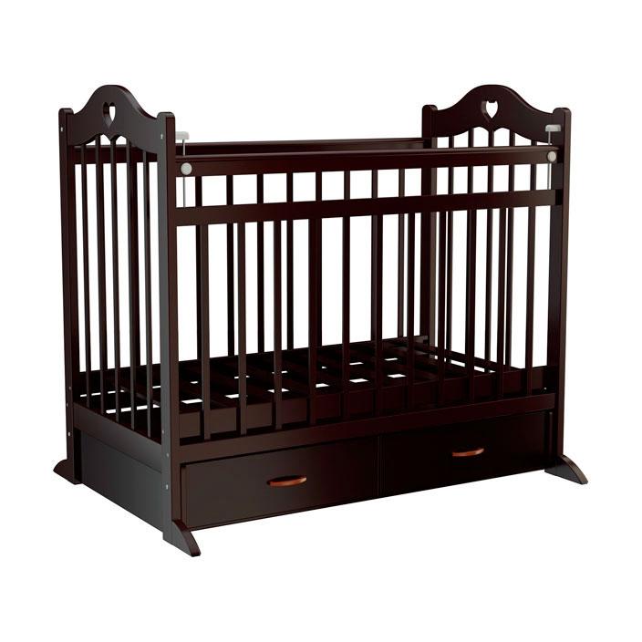 Кроватка Briciola12 с поперечным маятником Темная<br>