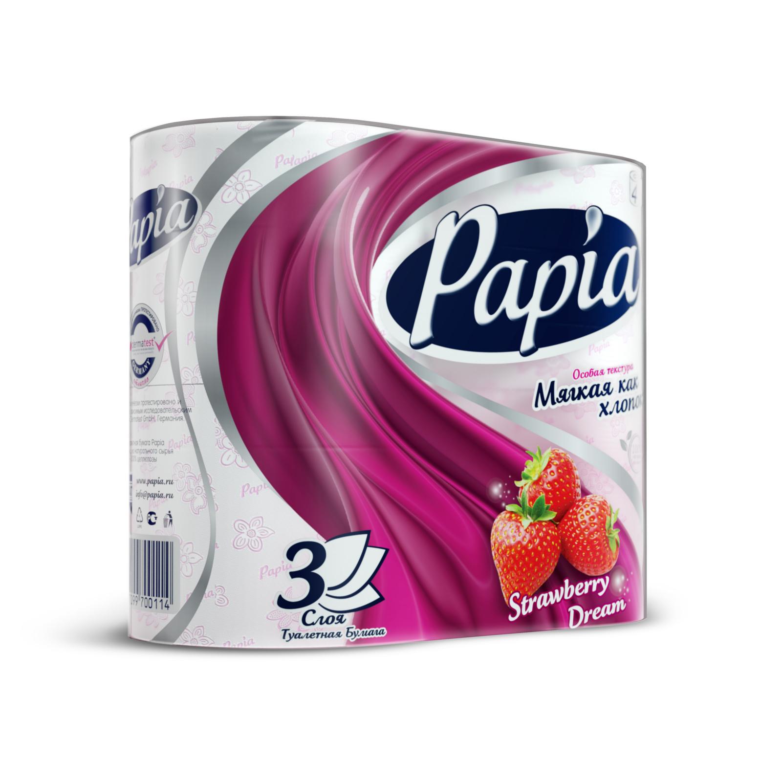 Туалетная бумага Papia с рисунком клубничная мечта (3 слоя) 4 шт<br>