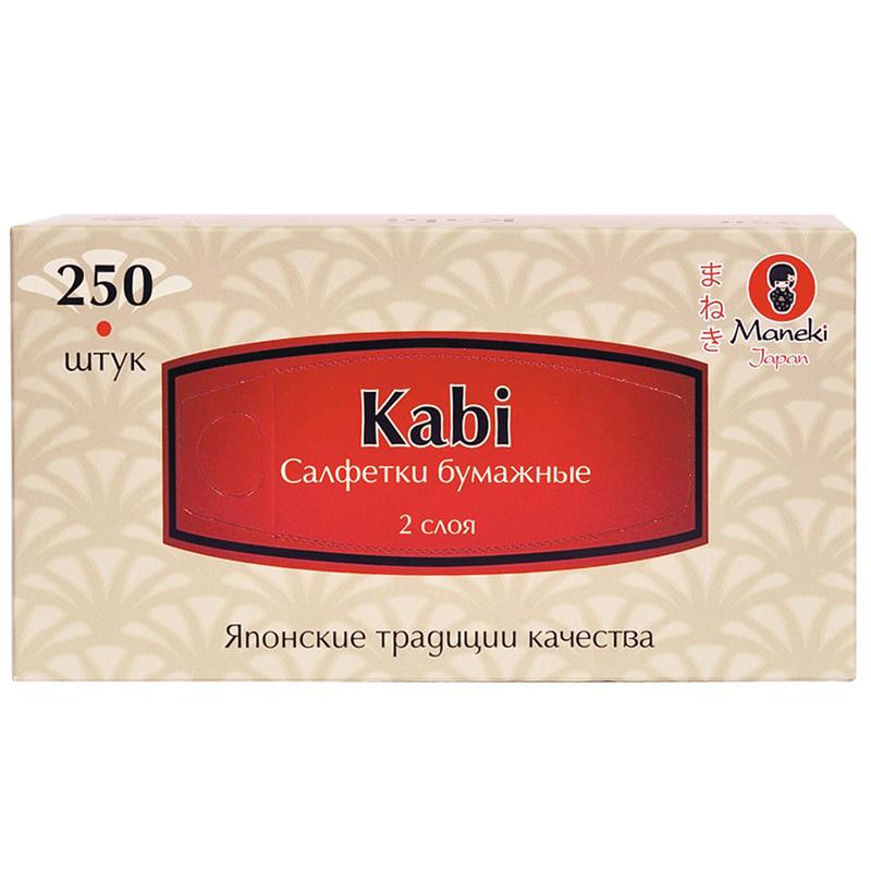 Салфетки бумажные Maneki белые 2 слоя Kabi 250 шт<br>
