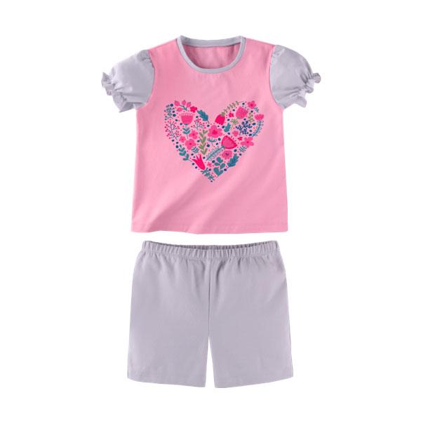 Комплект для девочки Наша Мама (футболка, шорты) рост 98 розовый с светло-серым<br>