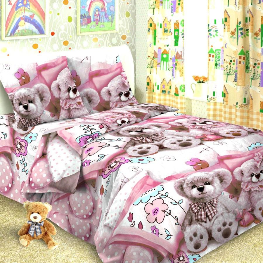Комплект постельного белья детский Letto Тэдди Розовый<br>
