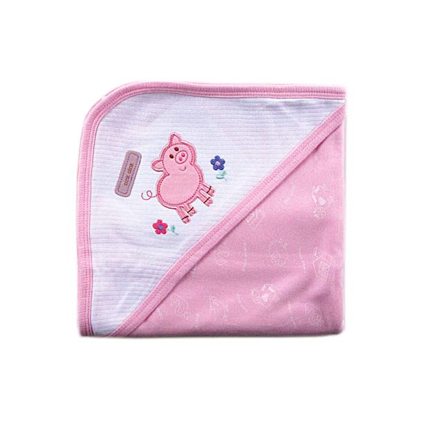 Пелёнка Luvable Friends Лавбл Фрэндс трикотажная с капюшоном (76*101 см) Розовая