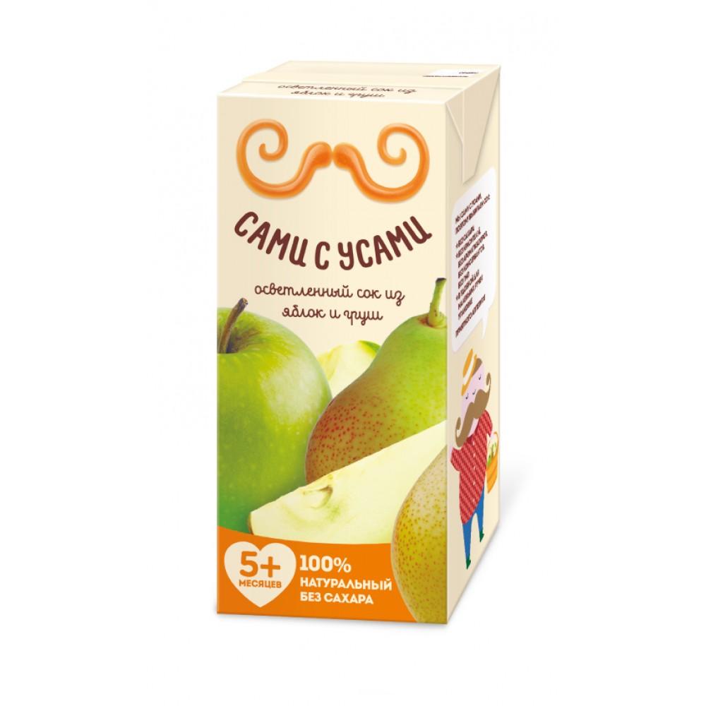 Сок Сами с усами 180 мл (тетрапак) Яблочно-грушевый осветленный (с 5 мес)