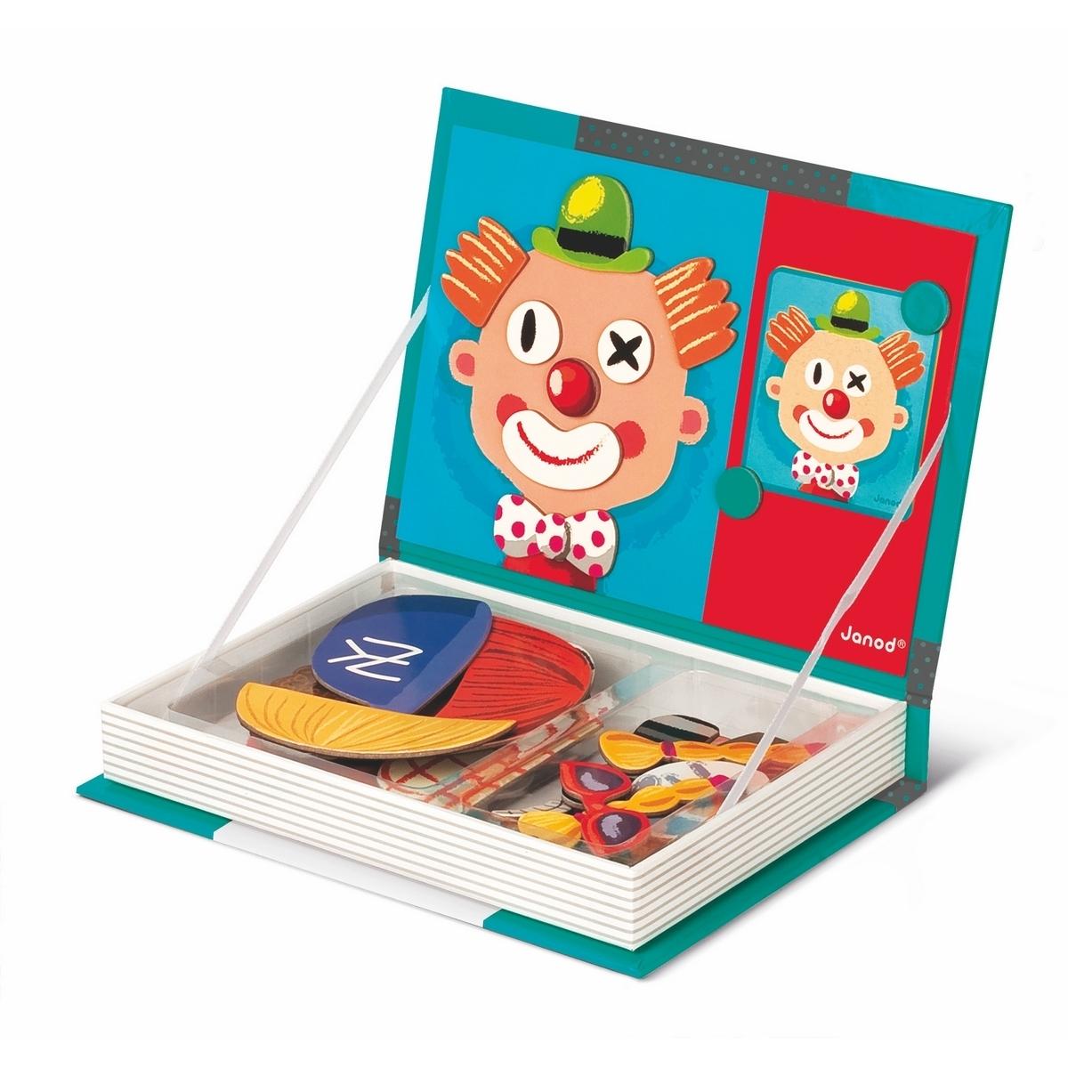 Книга магнитная Janod Смешные лица: 67 магнитов, 12 карточек<br>