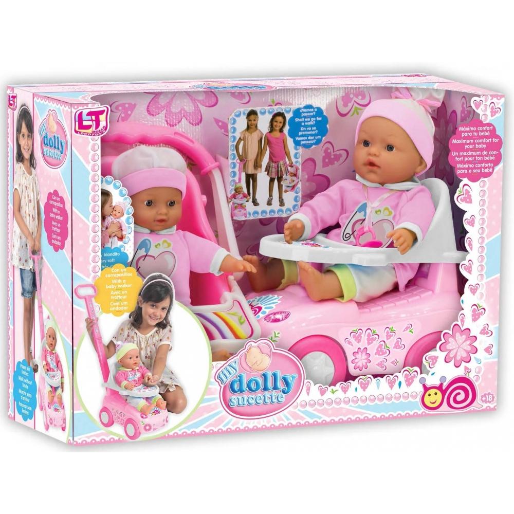 Кукла LOKO TOYS My Dolly Sucette с каталкой, автокреслом и ходунками<br>