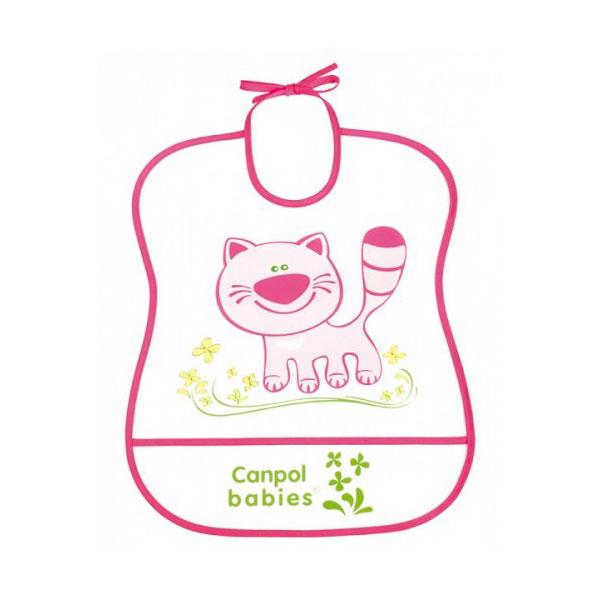 Нагрудник Canpol Babies с полимерным покрытием розовый (с 6 мес)<br>