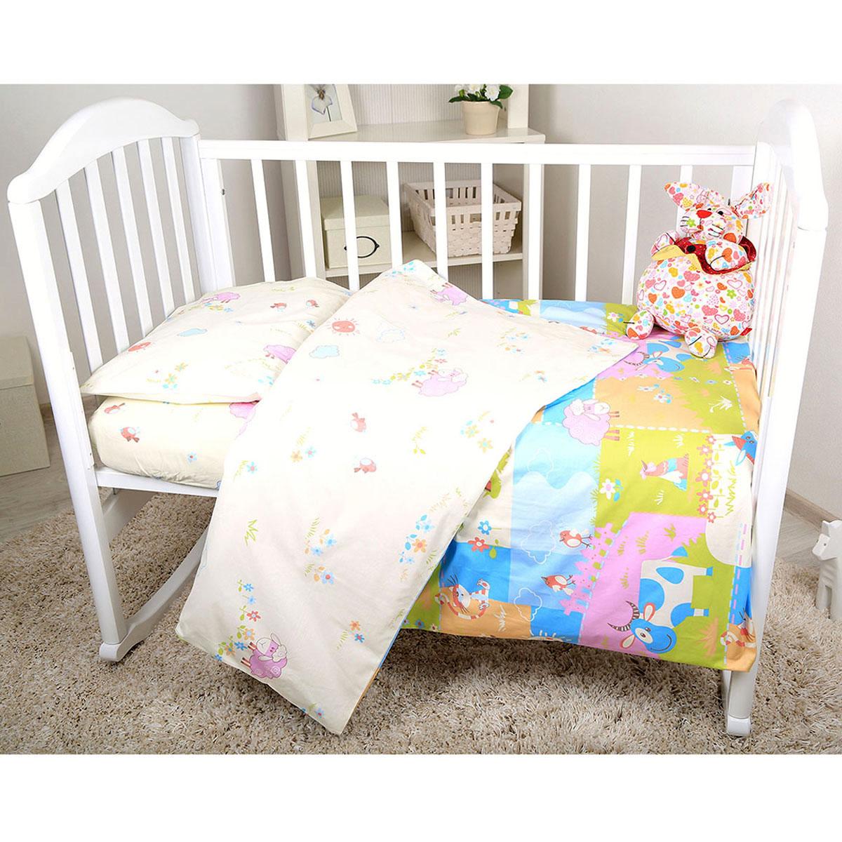 Комплект постельного белья Baby Nice сатин 100% хлопок Ферма (розовый, желтый, голубой)