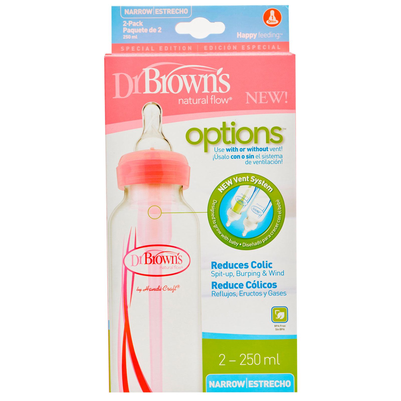 Бутылочка Dr. Brown&amp;#039;s Options стандартная Розовая 250 мл (2 шт)<br>