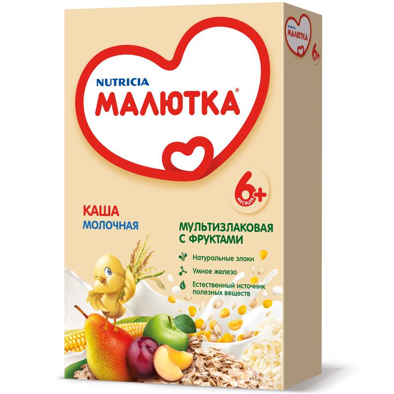 Каша Малютка молочная 220 гр Мультизлаковая с фруктами (с 6 мес) (Малютка (Nutricia))