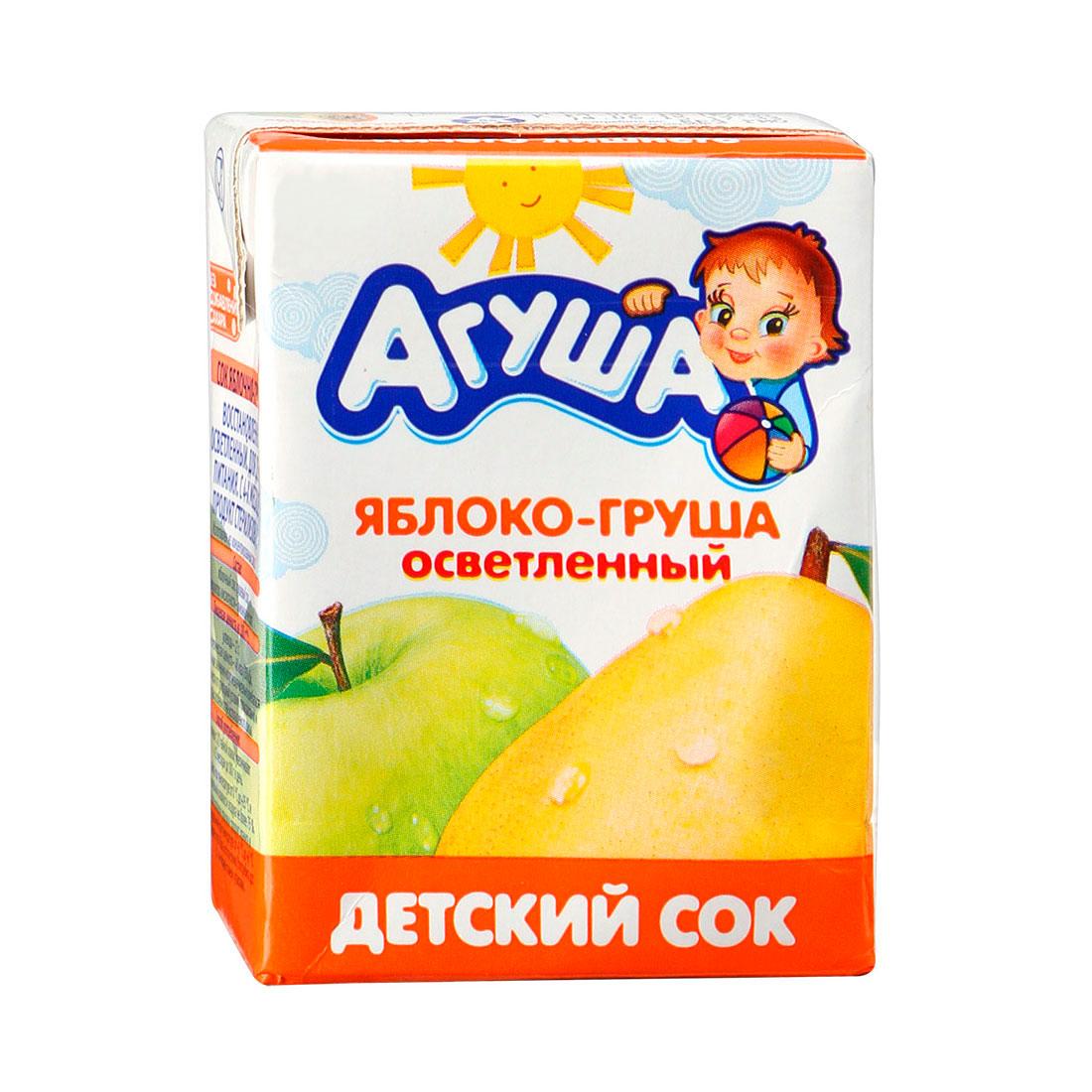 Сок Агуша 200 мл (тетрапак) Яблоко груша (с 5 мес)<br>
