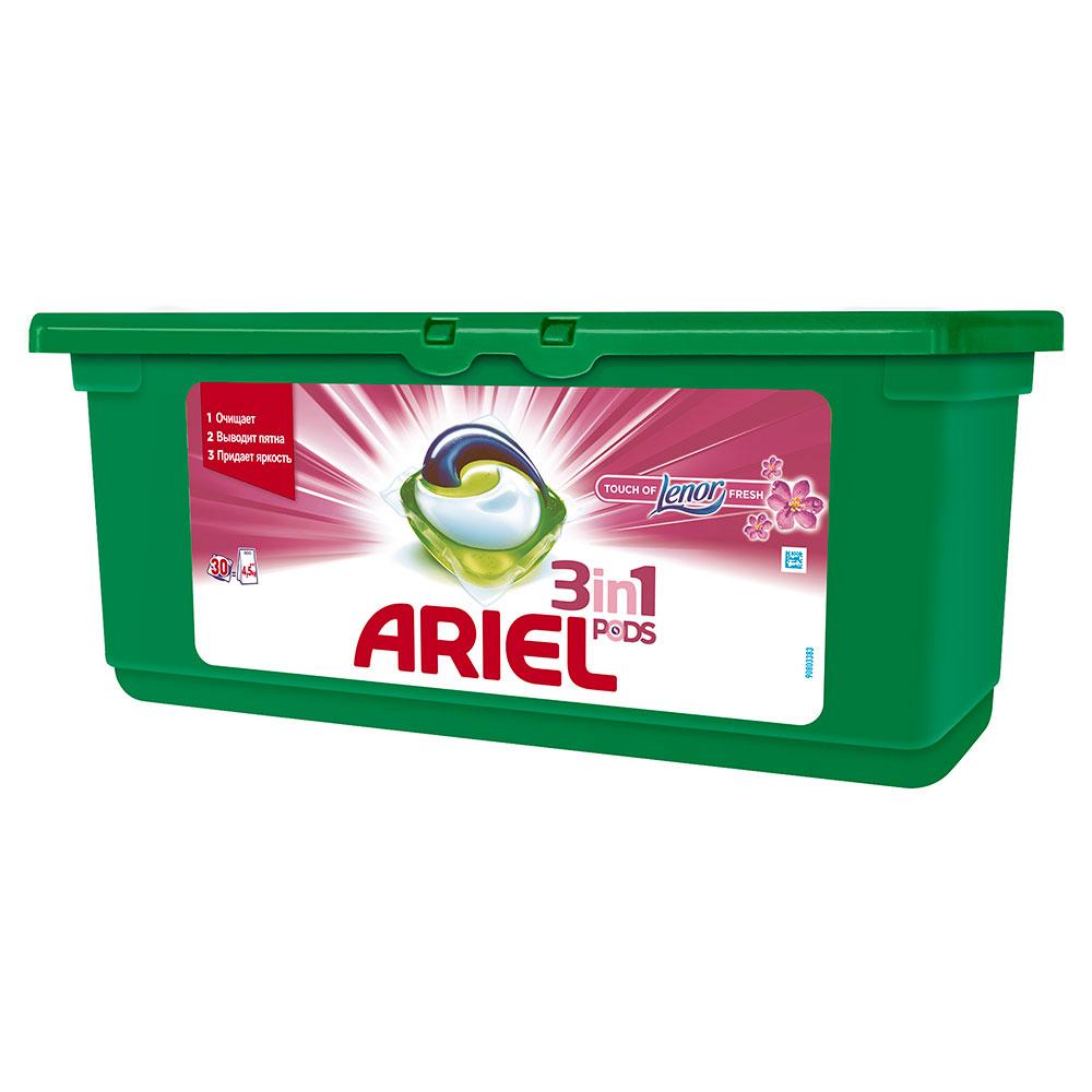 Капсулы для стирки Ariel 3 в 1 PODS Touch of Lenor Fresh 30 х 28,8 гр<br>