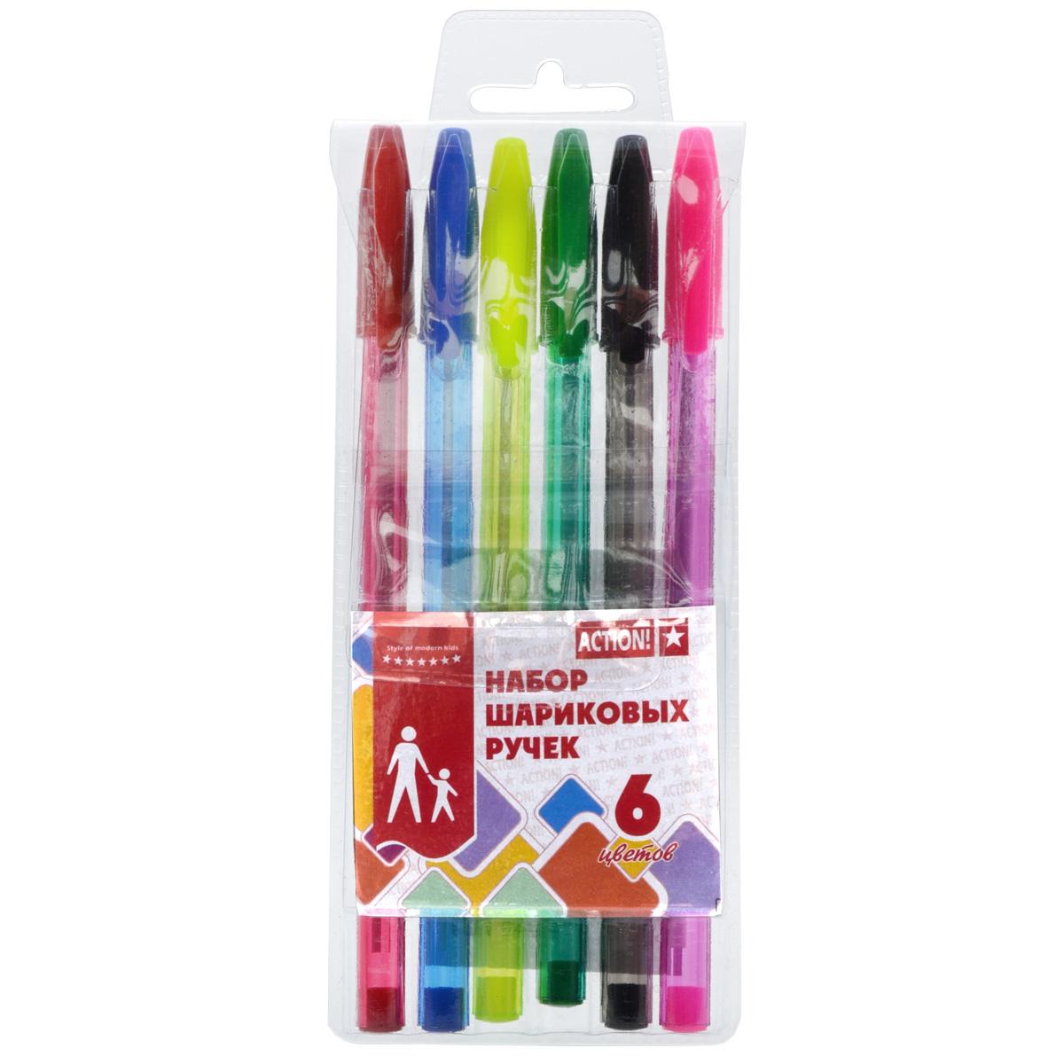 Набор разноцветных шариковых ручек ACTION! 6 цветов<br>