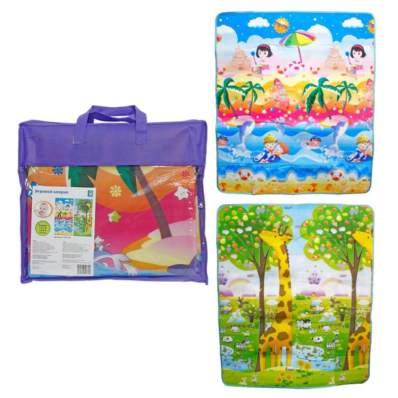 Коврик игровой для малышей 1toy EPE Средний двусторонний Пляж и жираф - ростомер<br>
