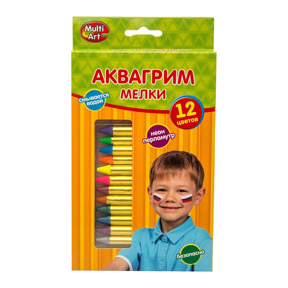 Аквагрим Multiart Мелки 12 цветов Неоновые<br>